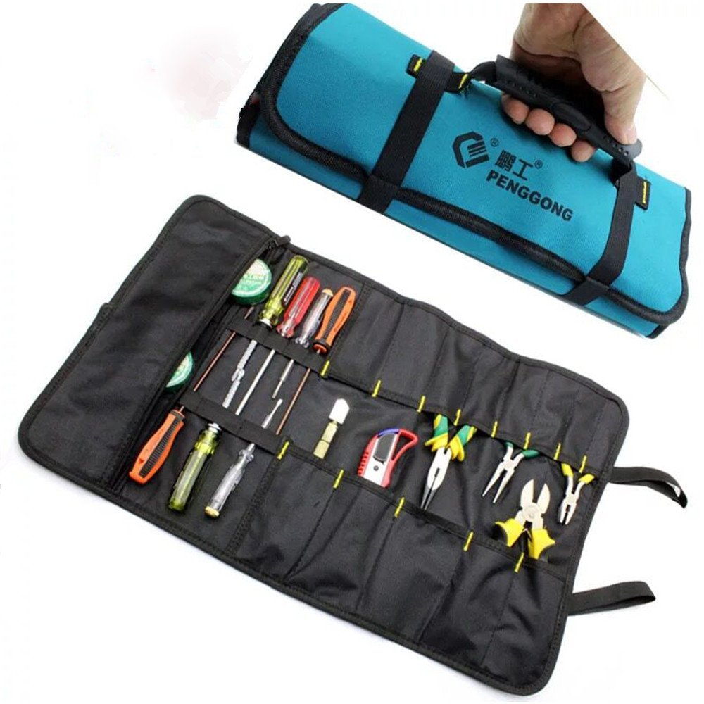 Socket Wrench Tool Roll Pouch Electricians Portable Reel Storage Rolling Tool Organizer Waterproof Oxford Canvas With Carrying Handle