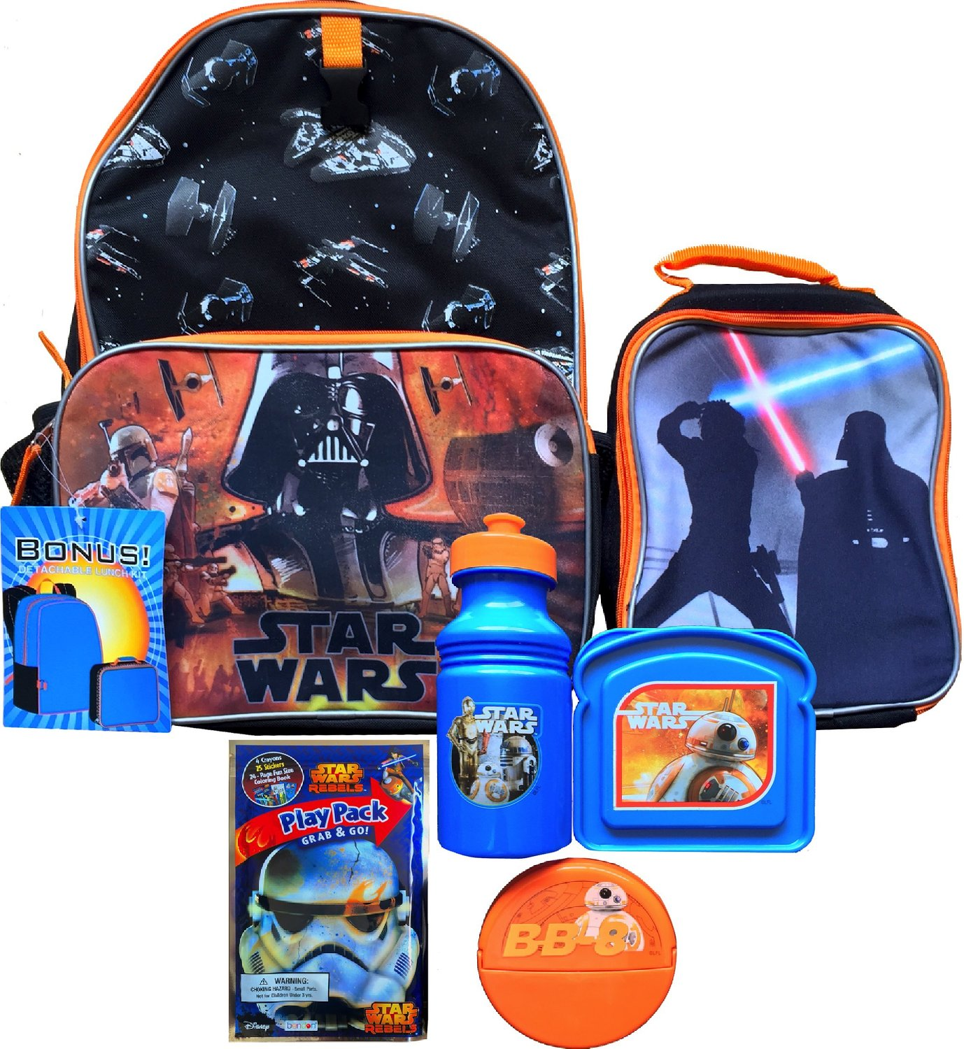 Get Quotations · Star Wars Darth Vader Children s School Backpack with  Detachable Lunch Box Includes Star Wars Water Bottle b38ce07575