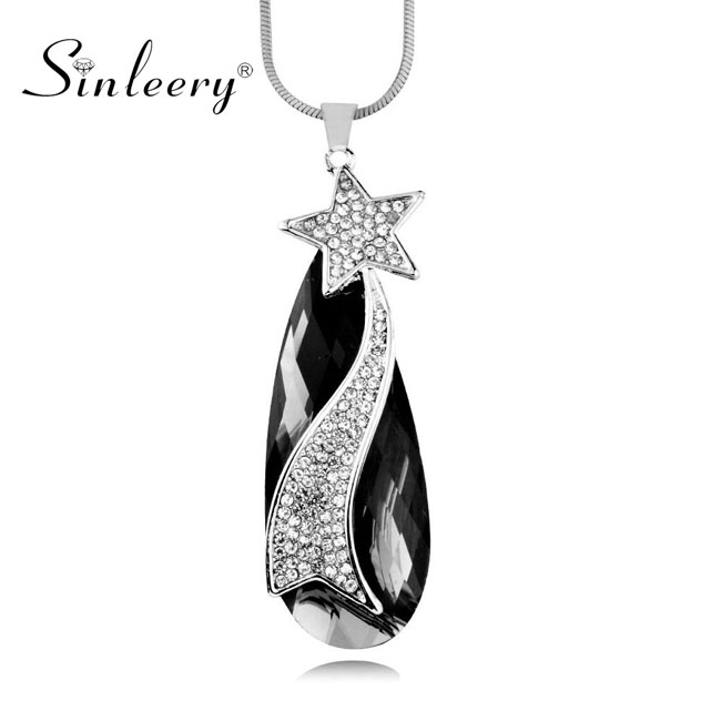 SINLEERY Vintage Black Waterdrop Shaped Pendant Long Necklace With Cubic Zirconia Star Jewelry For Women Accessories MY113
