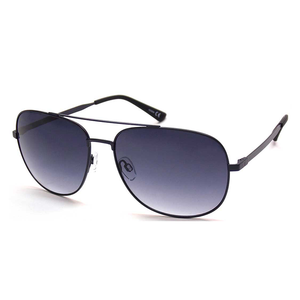 Stainless Steel Flexible Temple Metal Black Aviator Sunglasses