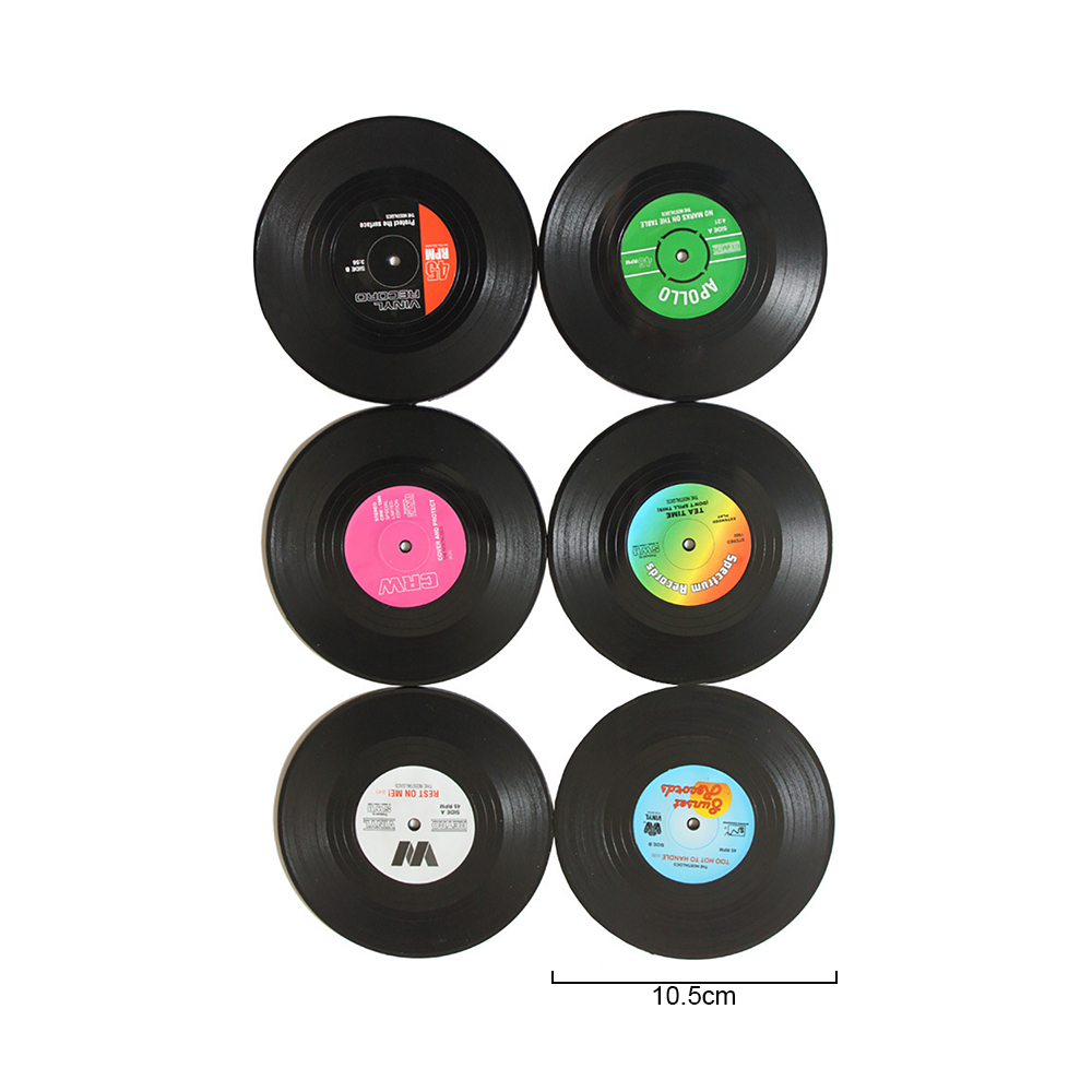 Custom 6pcs One Set Black Retro Vinyl Record Rubber Drink Coaster Coffee Cup Holder Wholesale