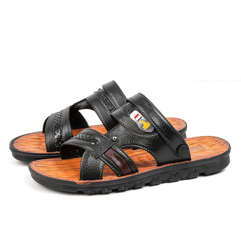 be18ae40e78 Summer Sandals Men Outdoor Breathable Slippers Leather Men Beach Casual  Sandalias Dad Shoes