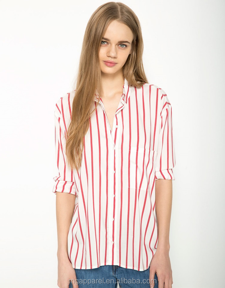 Latest Design Open Back Long Sleeve Red And White Striped Shirt ...