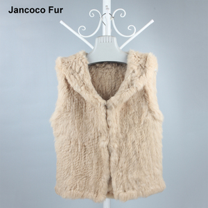 Attractive Design Short Rabbit Fur Vest With Hood Raccoon Fur Collar