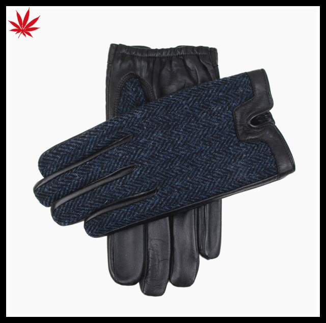 mens fashion leather and cloth police leather gloves three color