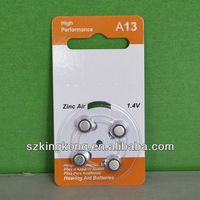 non rechargeable button cell 1.4v battery A13