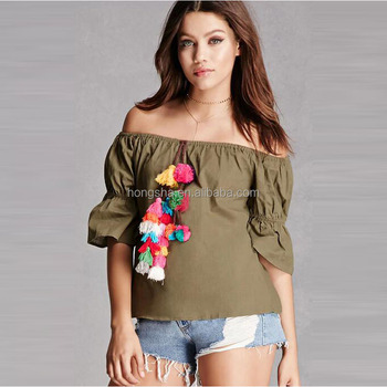 Wholesale Mexican Blouses 2017 Summer Women Off The Shoulder Pom Pom