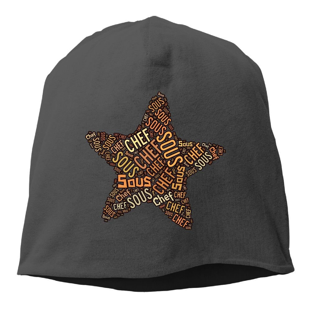 Unisex Sous-Chef Five-Pointed Star Knit Beanies Hat, Hip-Hop Skull Cap, Cuff Beanie, Watch Cap, Chemo Hats, Headband For Women & Men