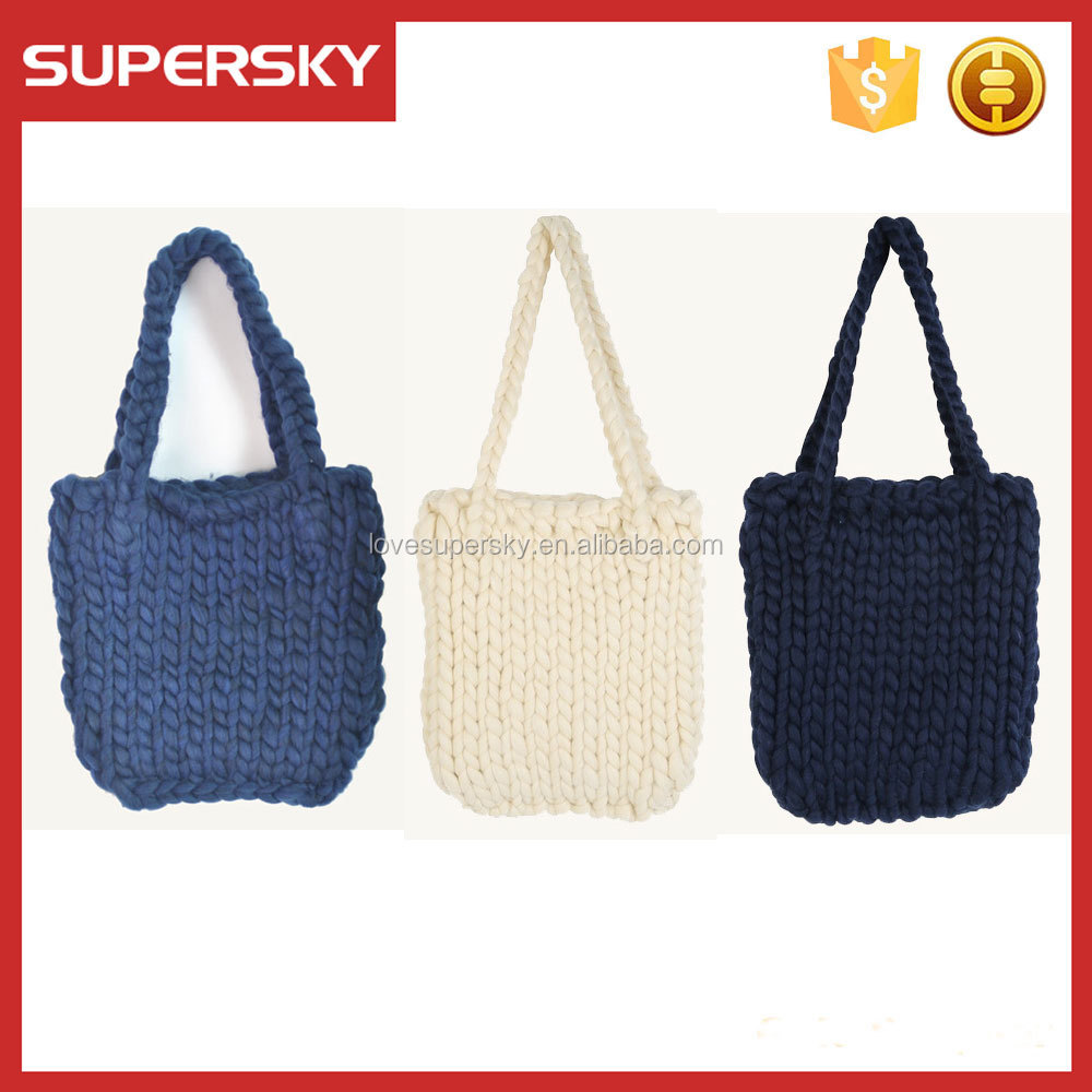 T407 Hand Crocheted Laptop Messenger Tote Bag Cable Women Handbag