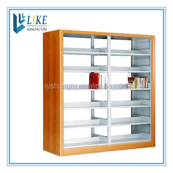 Customized 2 group 6 shelves detachable wooden steel library bookshelf