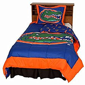 Florida Gators (5) Piece QUEEN Size Reversible Comforter Set - Set Includes: (1) QUEEN Size Comforter, (2) Shams and (2) Standard Size Solid Color Pillowcases