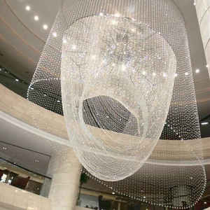Beautiful waterfall decoration shopping malls crystal tears chandelier