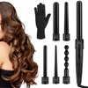 6 in 1 hair curler set interchangeable hair curler wand ceramic coating curing roller iron