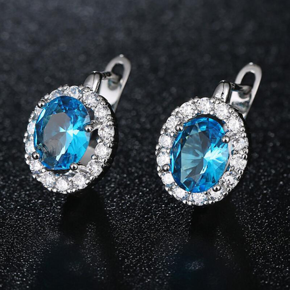 Luxury Silver Color Copper Earrings Ocean Blue/Red/Blue/White/Gold/Green/Pink Cubic Zirconia Earring for Women Jewelry