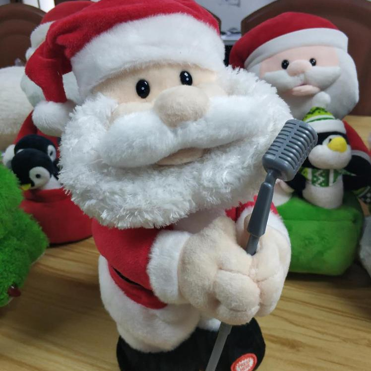 Christmas Dancing Santa.Electronic Singing And Dancing Santa Claus With Microphone In His Hand Plush Toys Christmas Santa Claus Buy Electronic Santa Claus Plush
