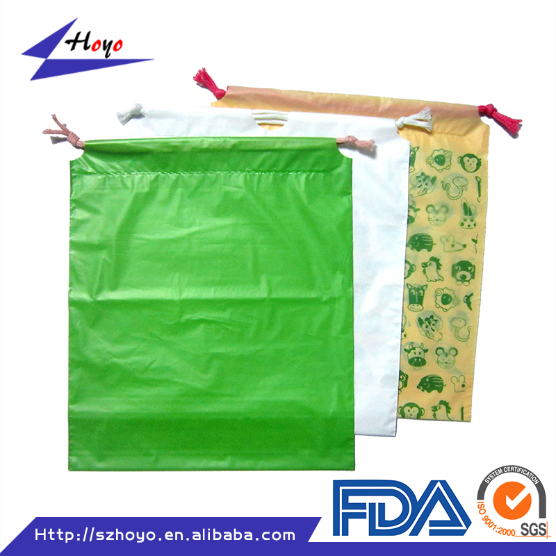 China Supplier High Quality Hot Selling Gift Packaging Drawstring Plastic Bag Manufacturing/.