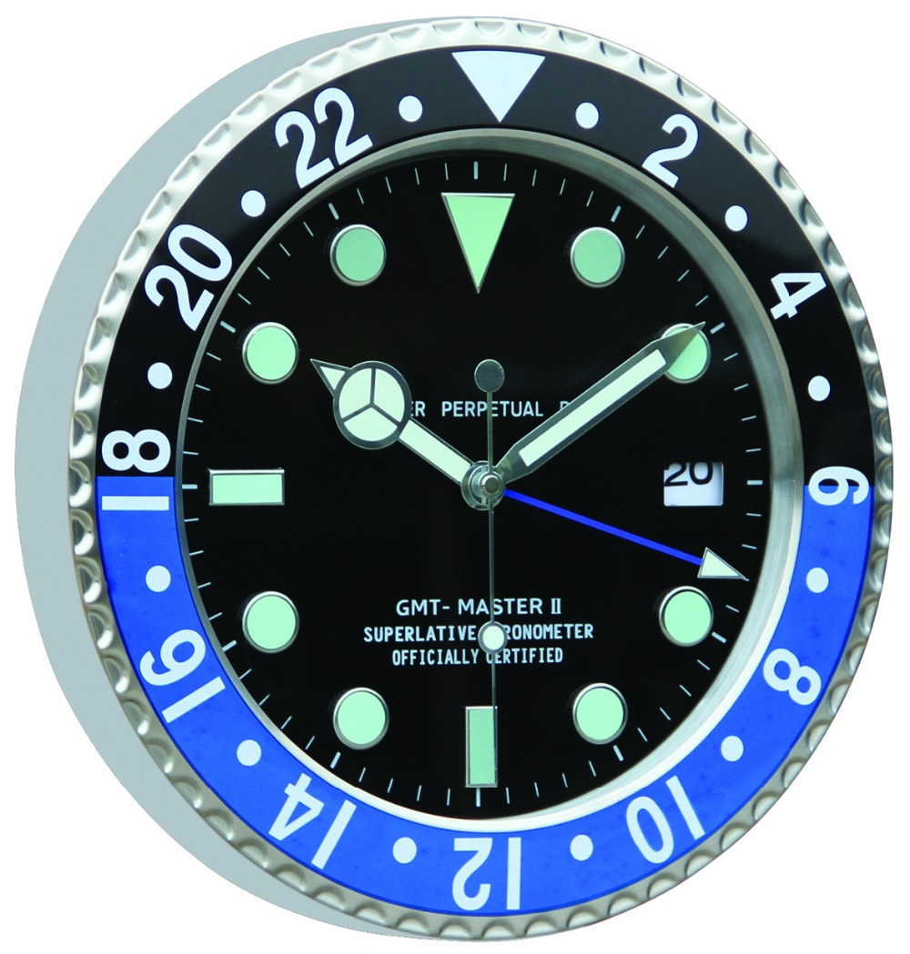 Bule And Black Frame Rolex Clock With Luminous Clock Hands