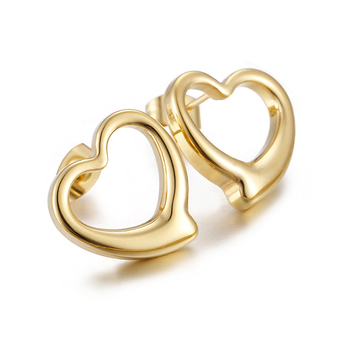 Exquisite Stainless Steel Jewelry Gold Heart Shaped Stud Earrings Designs for Women