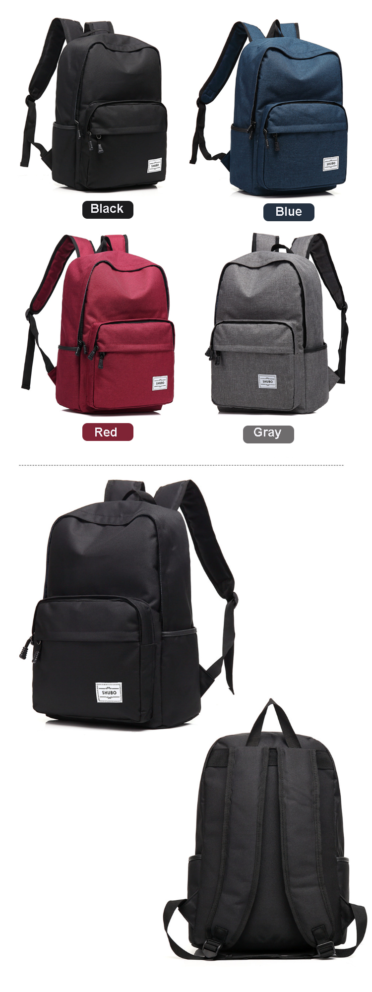 Osgoodway Casual Student Shoulders Backpack Polyester College School Backpack with Laptop Pocket