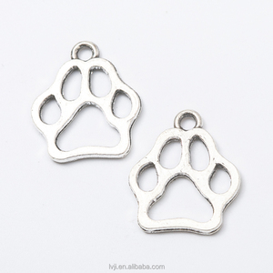 Jewelry Silver tag hollow Bear Paw Print Custom Metal Charm Pendant