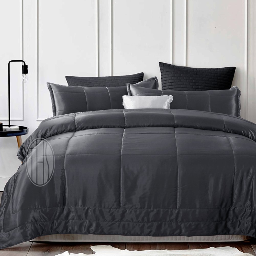 THXSILK Silk Comforter with 19mm Mulberry Silk Filling and Cover for Summer (Charcoal, King)