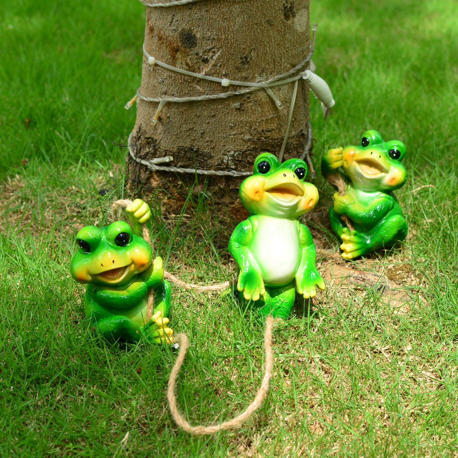Get Quotations · Frog Garden Decor Statue Outdoor Lawn Ornaments And  Figurines   Frolicking Frogs Hanging Yard Art Sculpture