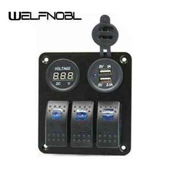 Waterproof Marine Switch Voltmeter Socket 2 Ports USB Socket Combination Panel