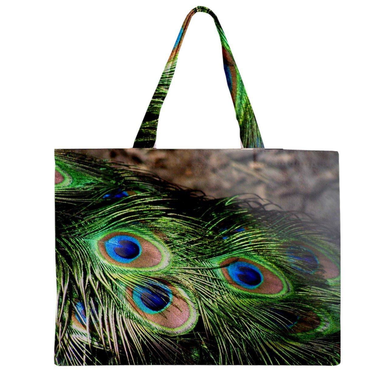 7f6a8e997b0a Get Quotations · Zipper Bag Peacock Feather Tote Bag