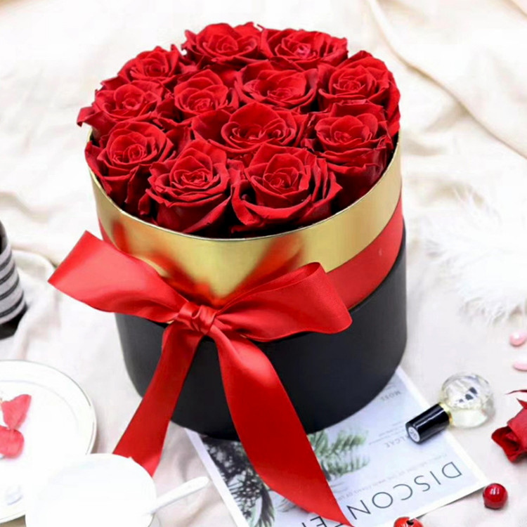 Wholesale A grade long lasting flower red preserved roses in round gift box