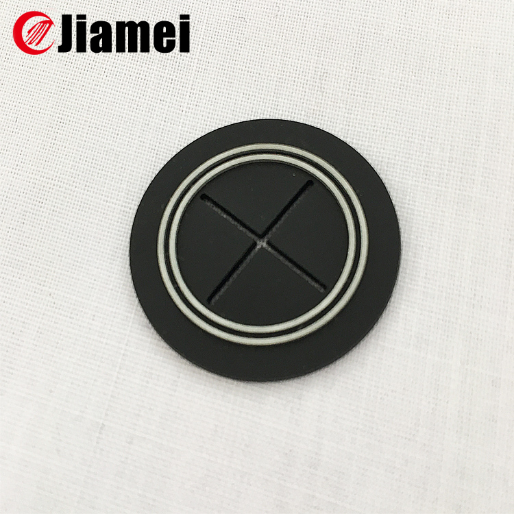 round rubber patch with hole silicone functional earphone label in sportsbag