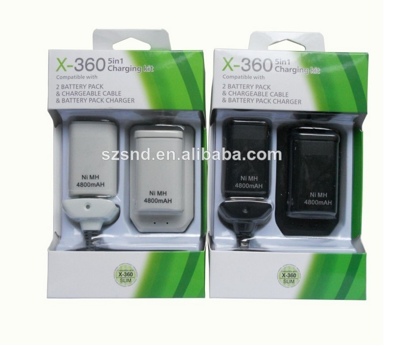 Factory price for XBOX360 3.7V rechargeable battery pack 2 pcs battery + charging dock+controller cable