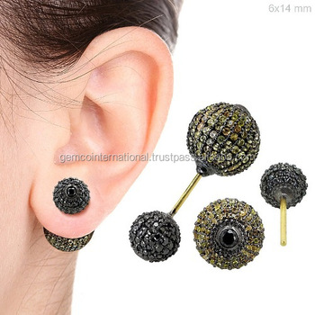 925 Silver Yellow Sapphire Earrings For La s Wholesale Diamond