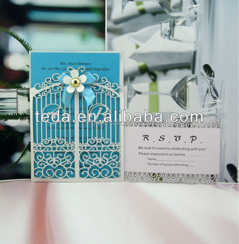 Weding decorations laser cut wholesale pocket fold invitations card