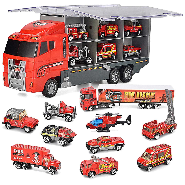 JOYIN 10 in 1 Die-cast Fire Engine Vehicle Mini Rescue Emergency Fire Truck Toy Set in Carrier Truck