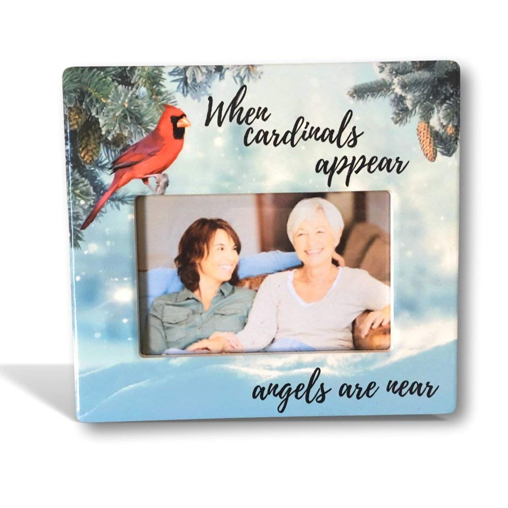 BANBERRY DESIGNS Memorial Photo Frame - When Cardinals Appear Angels are Near Loving Saying - Red Cardinal Scene - Bereavement Plaque