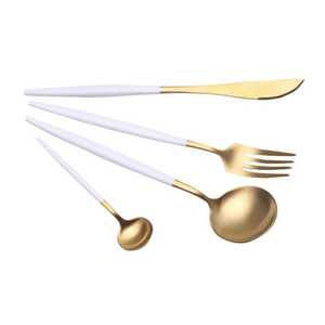 FDA Grade gold cuttlery spoon & fork set gold plated cutlery set