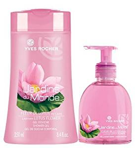 Yves Rocher Laotian Lotus 2-piece Bath/ Shower Set. Imported from France