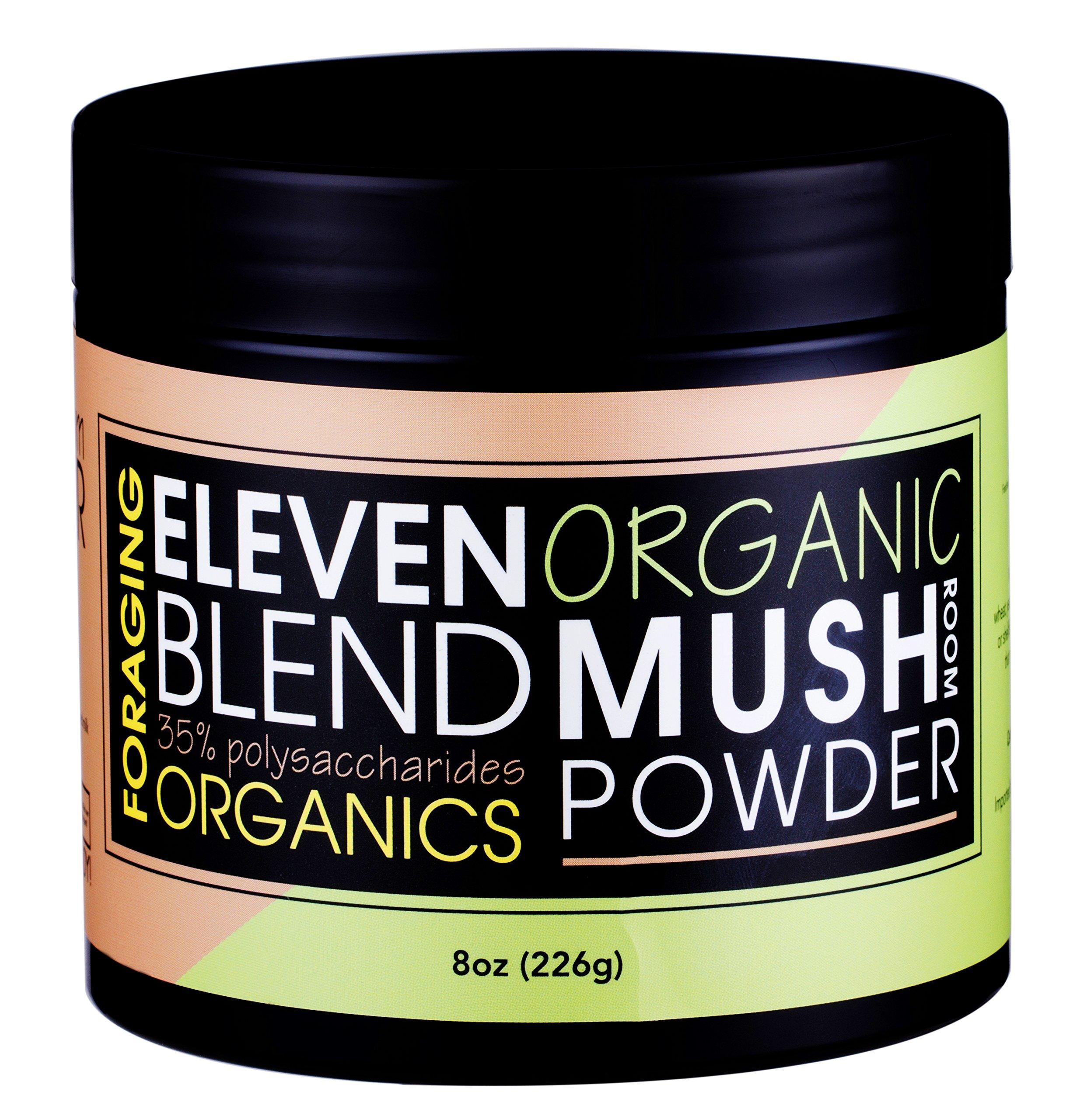 Foraging USDA Organic 11 Mushroom Extract Blend (8 oz) Powder For Coffee and Cooking 35% Polysaccharides, Red Reishi, Chaga, Lions Maine, Shiitake, Enoki And More