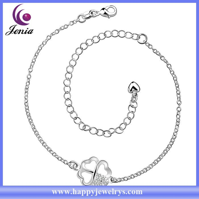 Flower charm design factory dirct price 925 silver plated new design anklet ( CA030)