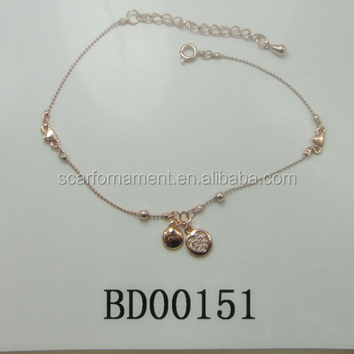 Fancy Young Alloy Bracelets Rose Gold Plate Thin Chain With Le Tag