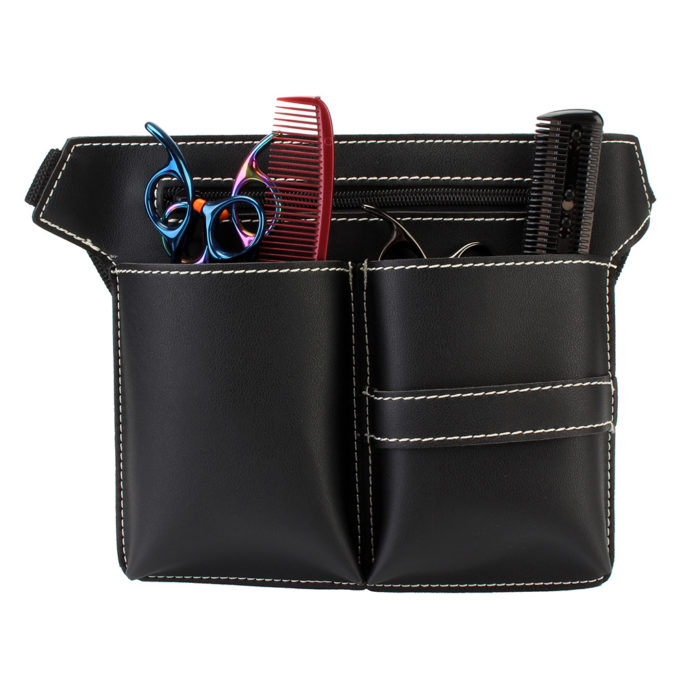 1TL0063 Salon Leather Scissors Kit Bag Scissors Pockets Multifunction Hairstylist Hairdressing Tool Pouch Bag