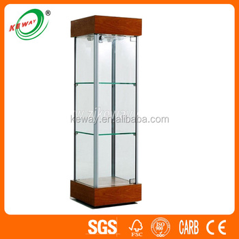 Tempered Wood Tall Glass Curio Cabinet