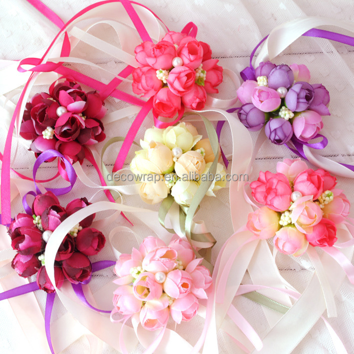 artificial flower wrist flower artificial flower corsage for wedding