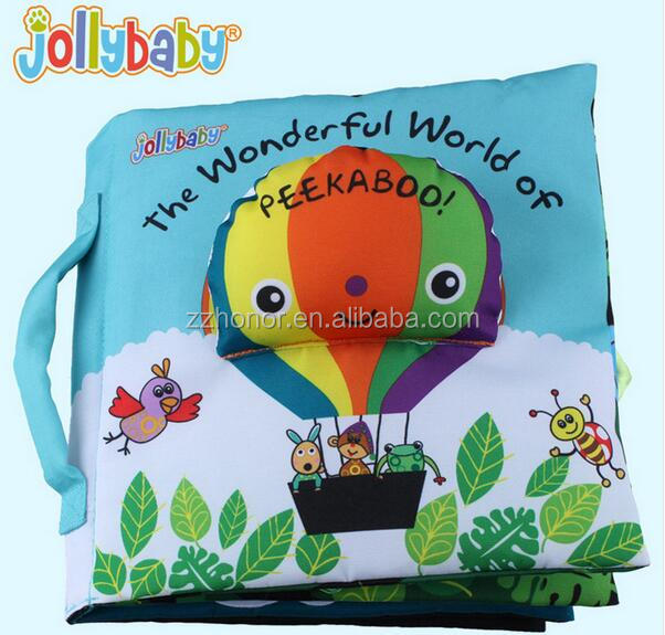 Baby early education cloth book, kids's soft fabric educational cloth book, jollybaby the wonderful world of peekaboo cloth book