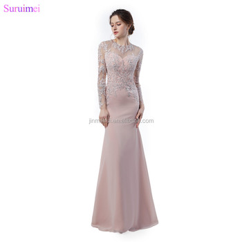 Long Sleeves Evening Dresses Fashion Lace Applique Sheer Illusion Back See Through Long Mermaid Blush Pink Evening Gown
