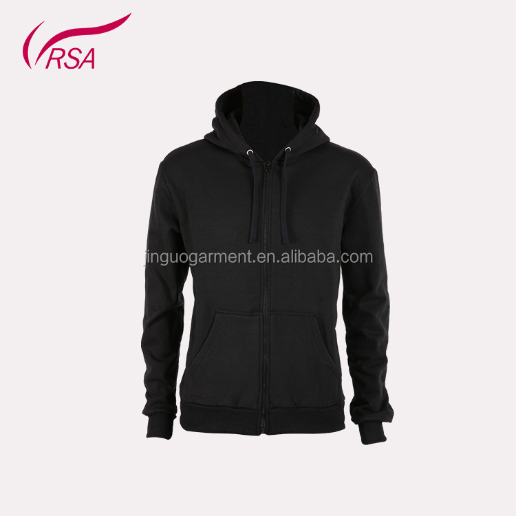 men's plain100% polyester black fleece long sleeve zipper-up base model hoody