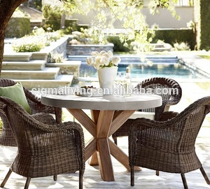 Patio furniture round concrete dinning table chair set