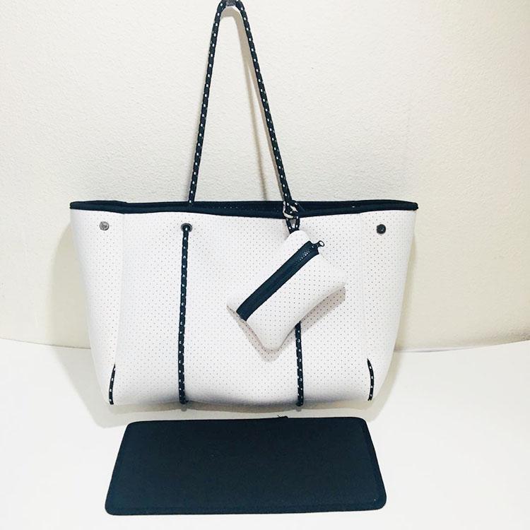 Wholesale custom made handbag fashion perforated beach bag metallic black neoprene tote  bag