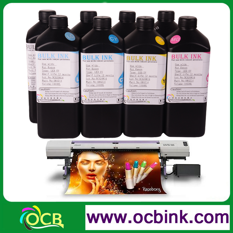 Ocbestjet Fast-Drying Flexo Printing LED Flexible UV Curable Ink For Car Stickers For Epson DX7 Flatbed UV Printer