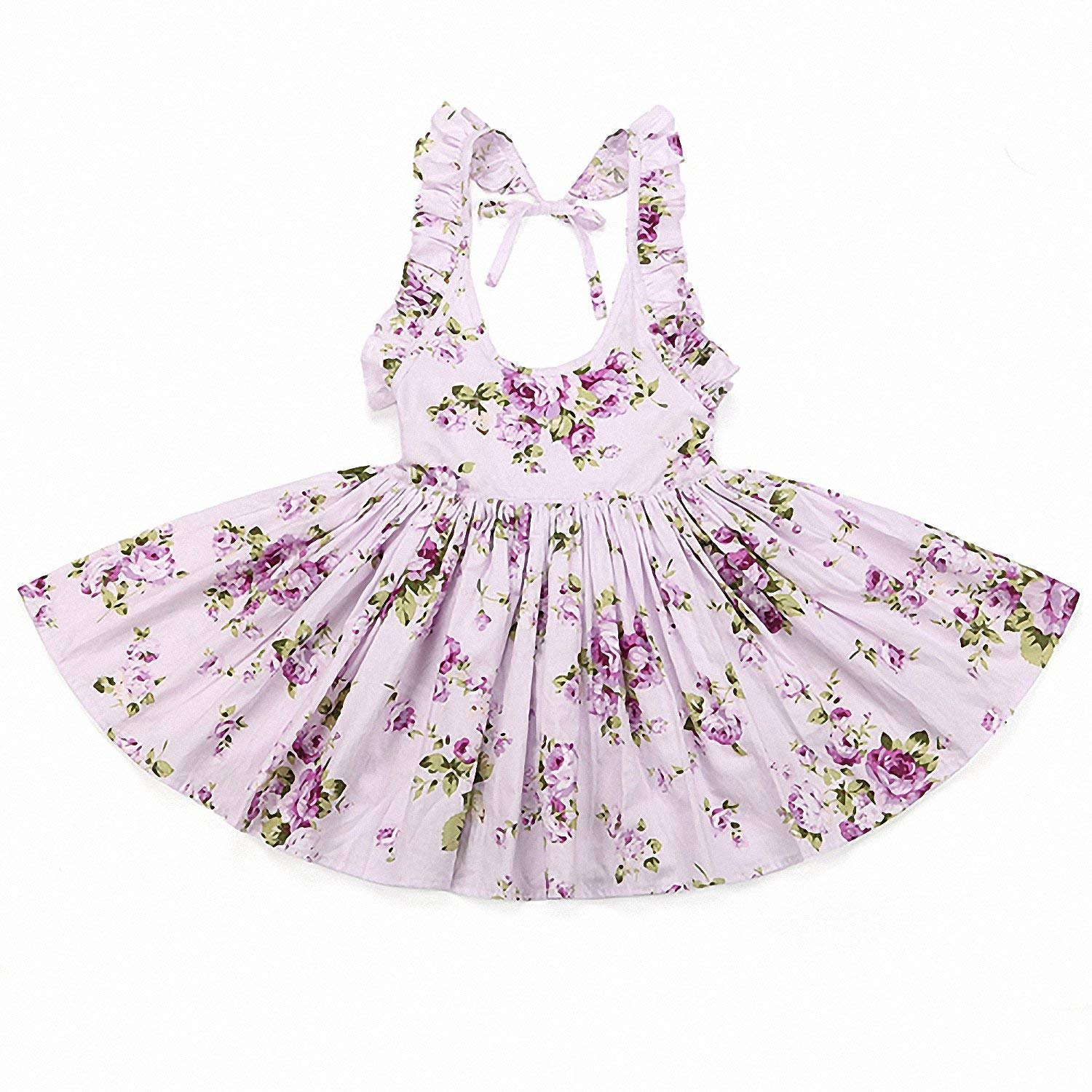 Drawingo Baby Girls Summer Style Floral Print Party Backless Dresses Clothing